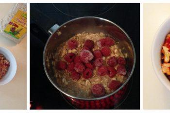 Warmes Frühstück mit Himbeeren und Hafermilch
