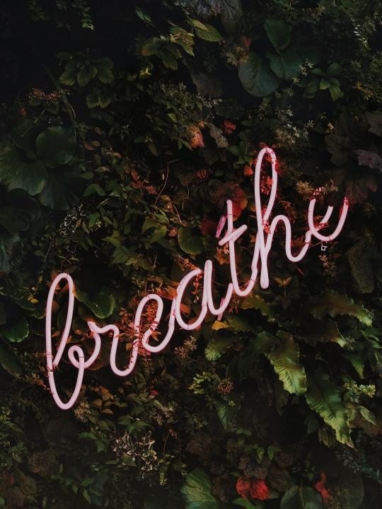 """Pranayama Basics Ujjayi - Bild mit Neonschrift """"breathe"""""""